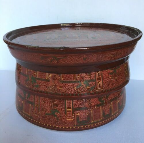Antique Straw Food Tiffin Box_Original_Hand Crafted_Painted Lacquer