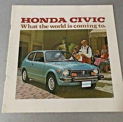 1975 HONDA CIVIC DEALER SALES BROCHURE VINTAGE VERY NEAR MINT
