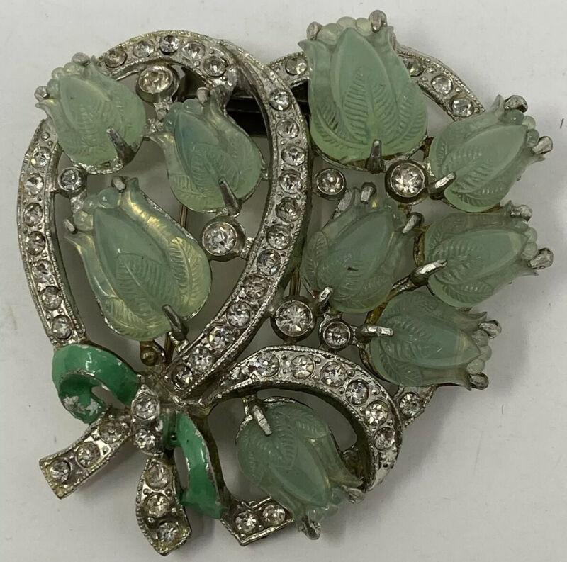 """Art Deco  Vintage Antique TRIFARI ? """"Fruit Salad Green Moonstone  Dress Fur Clip"""