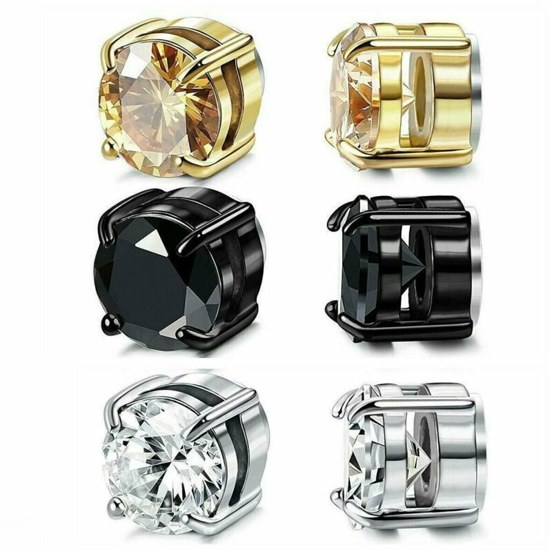 Stainless Steel Magnetic Stud Earrings for Womens Mens  Non-Piercing Clip On