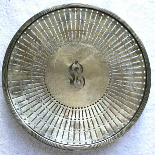 """Sterling Silver Pierced Reticulated 10"""" Plate Charger Monogrammed"""