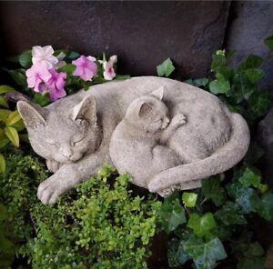 STONE GARDEN LYING CAT AND KITTEN SLEEPING ORNAMENT STATUE