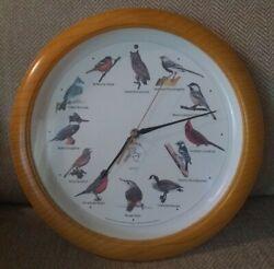 NATIONAL AUDUBON SOCIETY Quartz Singing Bird Clock Oak Wood 13 1/4''