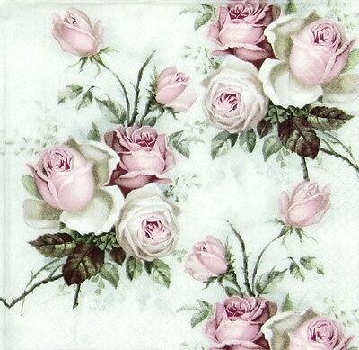 4x Single Table Party Paper Napkins for Decoupage Craft Vintage, Rose Bouquet