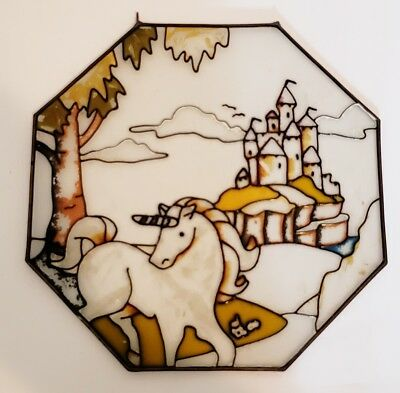 vintage unicorn faux stained glass suncatcher window garden white octagon castle