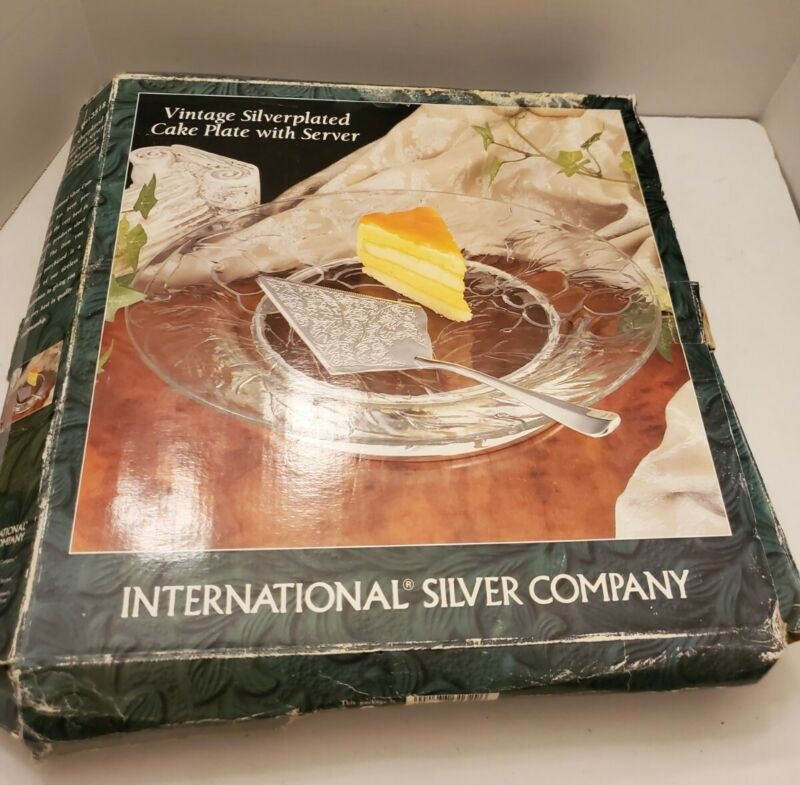International Silver Company Crystal Cake Plate w/ Server Vintage - New In Box