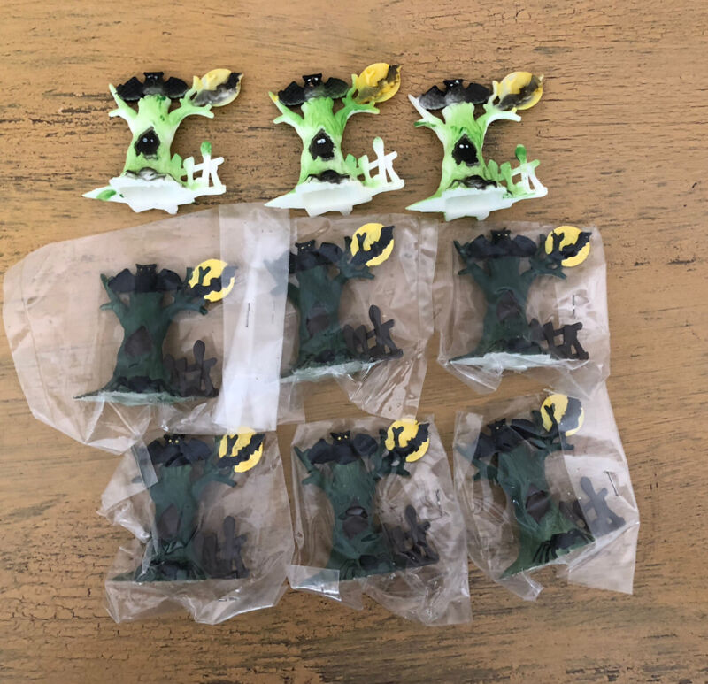 Vintage Halloween Cake Toppers Tree Moon Fence Bat Lot Of 9