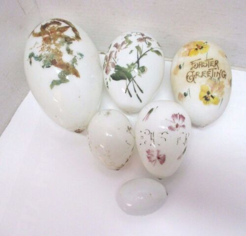 1890s Victorian Hand Blown Milk Glass Easter Greeting Eggs Embossed Floral Angel