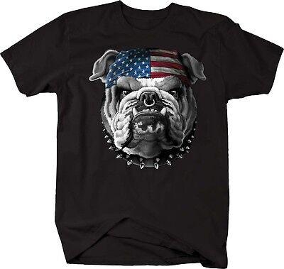 - Tshirt -American Bulldog US Flag Bandana Spiked Collar