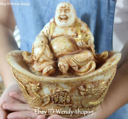 Old Jade Gilt Happy Laugh Maitreya Yuanbao Wealth Money Dragon Phoenix Statue