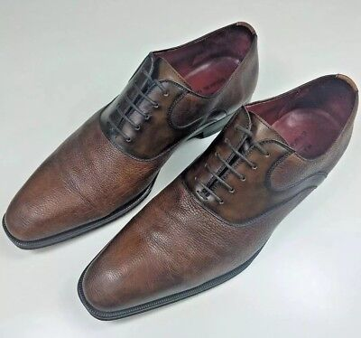 Magnanni for Bergdorf Goodman Mens Size 43.5 EU 9.5 US Brown Leather Dress Shoes Goodman Mens Leather