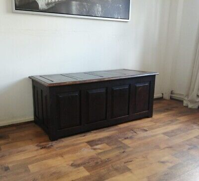 Vintage Large Solid 4 Panel Coffer Chest