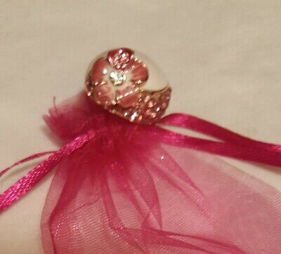 Pink Enamel Glory Hibiscus Flower Ring, Silver Plating, Size 7 1/2, or 8, -