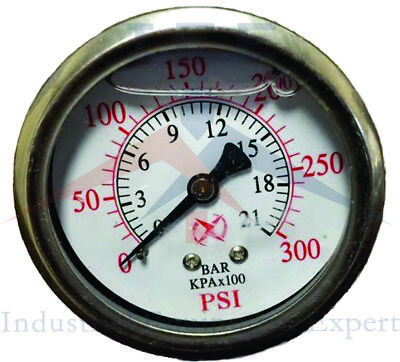 Liquid Filled 2.5 Face 300 Psi Air Pressure Gauge Center Back Mount 14 Npt
