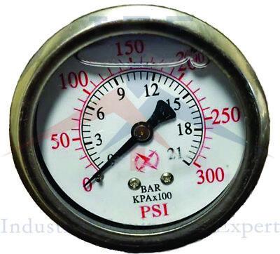 Liquid Filled 2.5 Face 300 Psi Air Pressure Gauge Center Back Mount 14 Npt