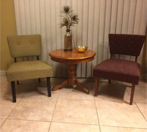 Vintage Occasional Chairs & Oak Pedestal Side Table