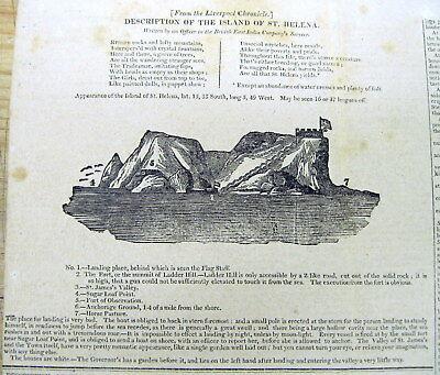 1815 newspaper Large engraving of ST HELENA ISLAND - Exile of NAPOLEON BONAPARTE