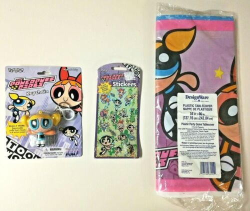 The Powerpuff Girls Bubbles Keychain Stickers & Table Cloth Party Fan Lot Sealed