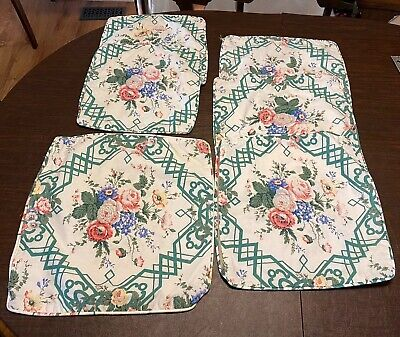 6 Vintage Waverly Fabric Custom Made Throw Pillow Covers Floral Zippers Waverly Fabrics Bedding