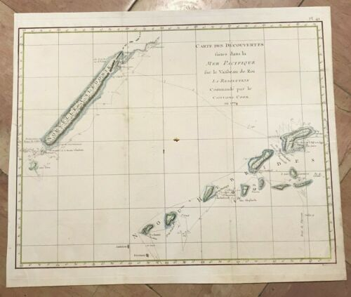 NEW CALEDONIA NEW HEBRIDES 1780 by NICOLAS BELLIN LARGE ANTIQUE SEA CHART