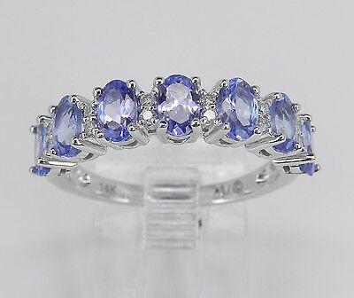 Diamond and Tanzanite Wedding Ring Anniversary Band 14K White Gold Size 7