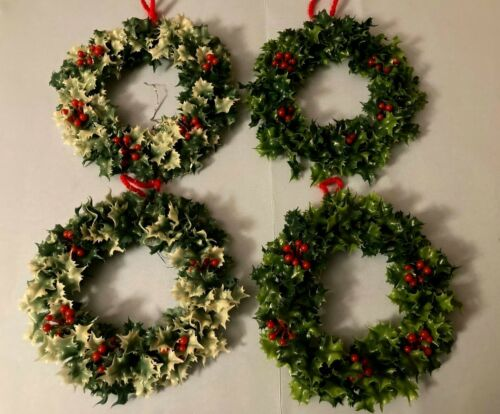 "4~Vintage Holly &BERRY 7 1/2"" WREATHS or CANDLE HOLDERS~Plastic Greenery~1960s"