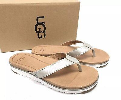 UGG Australia Lorrie Metallic Leather Sandals 1019864 Silver Flip Flops Thongs Metallic Thong Sandal