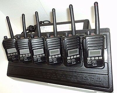 Lot 6 Icom F50v Vhf Portable Radios 6 Charger Narrowband Fire Pager Police Mics