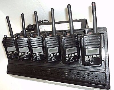 Lot 6 Icom F50v Vhf Portable Radios 6 Charger Narrowband Fire Pager Police Set
