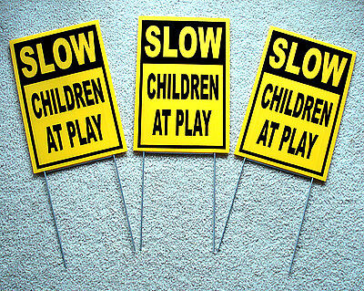3 Slow -- Children At Play Coroplast Signs With Stakes 8 X 12 Yellow