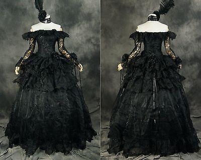 H-331 Schwarz Victorian Gothic Lolita Rokoko Cosplay Braut Abend-Kleid -