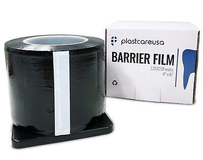 "Black Barrier Film, Plastic Sheeting Dental Tattoo, Adhesive 1200 4"" x 6"" Sheets"