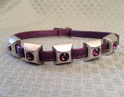 "Swarovski Crystal Rhinestone Dog Collar • Fits 12""-13"" Necks • PURPLE!  • Mint!"