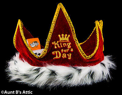 Crown Red & Gold King For A Day Soft Fabric & Faux Fur Embroidered  Novelty Hat (Crown For A King)