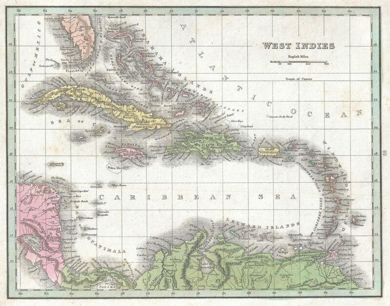 1835 Bradford Map of West Indies