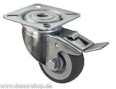 50 mm Transportrollen Lenkrollen Möbelrollen TK 50 kg Gummi spurlos Bremse Rolle