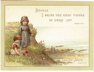 RELIGIOUS VICTORIAN CHRISTMAS GREETINGS CARD CHILDREN ON BEACH 1884