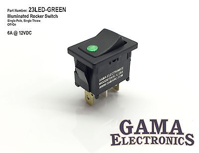 Mini 10 Amp Single Pole Off-on Rocker Switch With Green 12 Volt Led Illumination