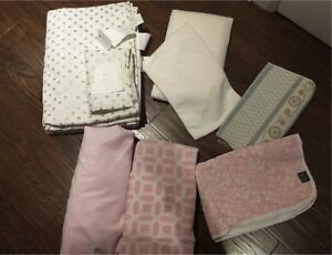 9 piece Organic Pottery Barn Kids Gold Dot & Pink crib bedding