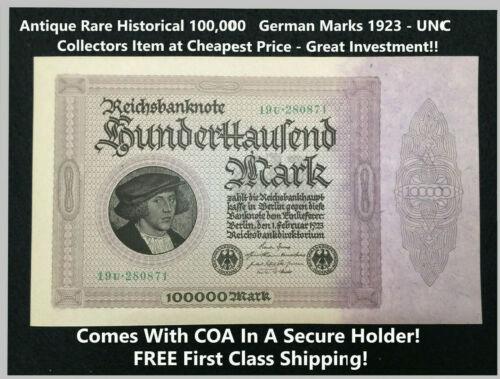 Antique Rare Historical 100,000 German Marks 1923 - UNC GEM Collectors Item