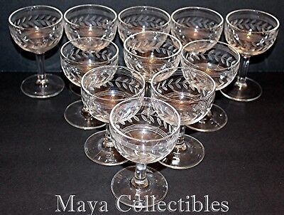 11 Vintage Pressed Indiana Glass Laurel Leaf Etched Liquor CORDIAL Stem Glasses