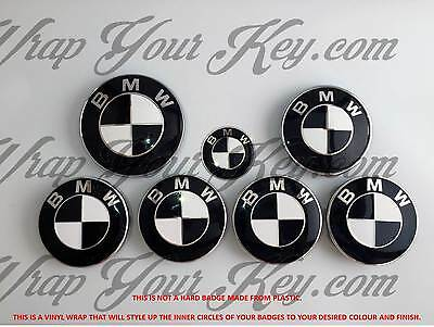 WHITE  BLACK GLOSS Badge Emblem Overlay FOR BMW HOOD TRUNK RIMS FITS ALL BMW