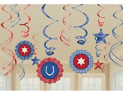 Western Bandana Party Supplies Swirl Hanging Decorations