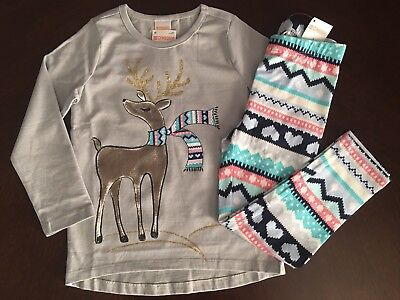 Nwt Gymboree Girl Mixnmatch Grey Deer Tee   Heart Leggings Outfit 4 5 6 7 8