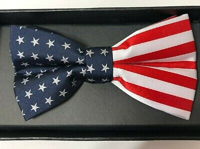 Eagles Wings Mens USA Stars & Stripes American Flag Pre-Tied Bow Tie 8900 Eagles Wings Striped Tie