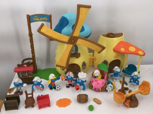 Peyo 2009 Smurfs Windmill Mushroom Playset 9 Figures Smurfette Car Furniture +