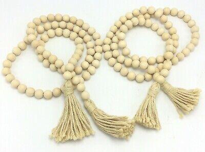 Wood Bead Garland Tassels Farmhouse Beads Rustic Country Style Decoration Lot 2