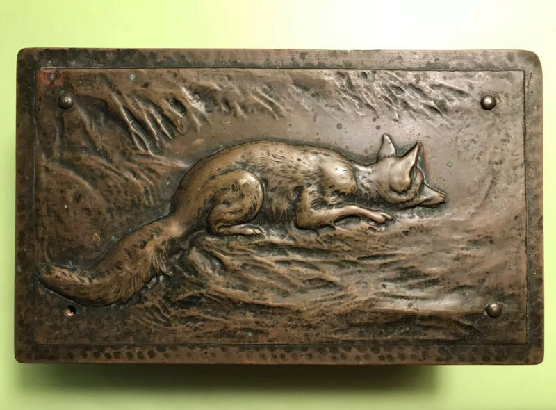 ANTIQUE GERMANY WMF ART NOUVEAU COPPER HUNTING FOX HIGH RELIEF SCENE CIGAR BOX