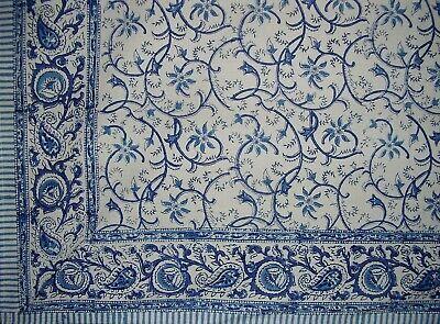 "Block Print Rajasthan Vine Cotton Tablecloth 90"" x 60"" Blue"