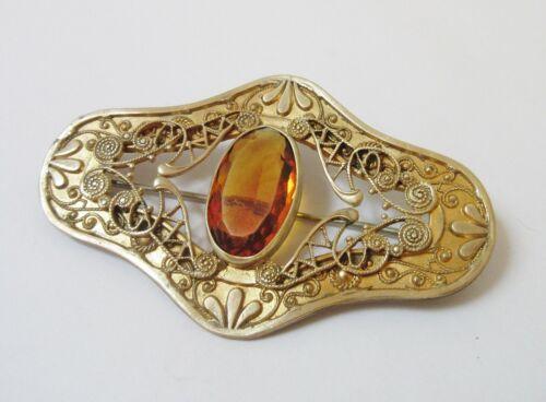 "Antique Victorian Topaz Glass Filigree Sash Brooch 3"""